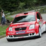 BRU99 - 20040617 - Borovetz-Bulgaria : Belgian driver Bruno Thiry and his co-driver Nicolas Gilsoul take a curve with their Citroen C2 Super 1600 during the Bulgaria rally, thirth round of the European Rally Championship, Thursday 17 June 2004, in Brorovetz, Bulgaria